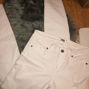 PAIGE Verdugo Ankle Distressed White Jeans